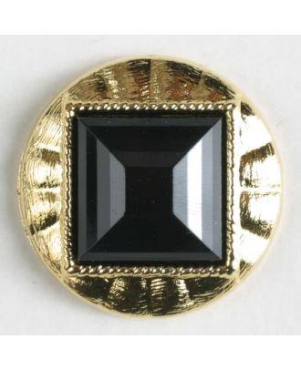 Zweiteiliger Knopf mit quadratischer, angeschrägter Einlage, goldumrandet mit Öse - Größe: 18mm - Farbe: schwarz - Art.Nr. 290176