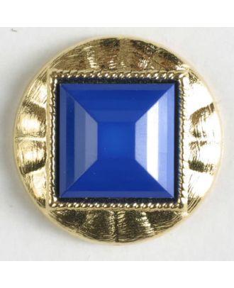Zweiteiliger Knopf mit quadratischer, angeschrägter Einlage, goldumrandet mit Öse - Größe: 18mm - Farbe: blau - Art.Nr. 293023