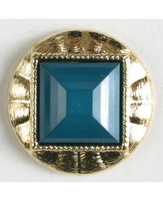 Zweiteiliger Knopf mit quadratischer, angeschrägter Einlage, goldumrandet mit Öse - Größe: 18mm - Farbe: grün - Art.Nr. 293025
