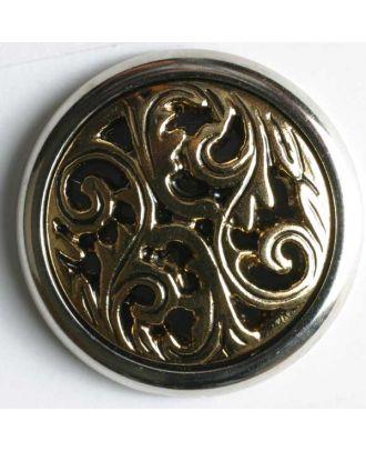 Kunststoffknopf mit aufwendigem Ornament - Größe: 15mm - Farbe: altgold - Art.Nr. 290248