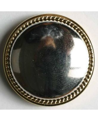 Kunststoffknopf - Größe: 23mm - Farbe: silber mit Goldrand - Art.Nr. 340124