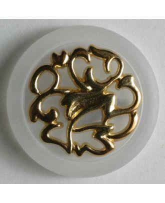 Kunststoffknopf mit sehr schönem Golddekor -Größe: 25mm - Farbe: transparent - Art.Nr. 340438