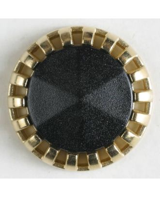 Zweiteiliger Knopf mit strahlenförmigem Goldrand mit Öse - Größe: 18mm - Farbe: schwarz - Art.Nr. 290498
