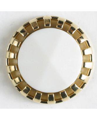 Zweiteiliger Knopf mit strahlenförmigem Goldrand mit Öse - Größe: 18mm - Farbe: beige - Art.Nr. 290499