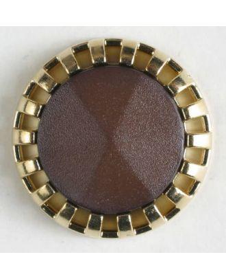 Zweiteiliger Knopf mit strahlenförmigem Goldrand mit Öse - Größe: 18mm - Farbe: braun - Art.Nr. 290500