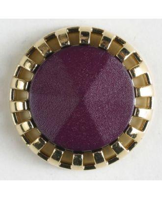 Zweiteiliger Knopf mit strahlenförmigem Goldrand mit Öse - Größe: 18mm - Farbe: lila - Art.Nr. 290502