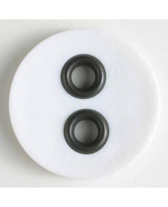 Kunststoffknopf mit Metalllöchern - Größe: 23mm - Farbe: weiss - Art.Nr. 340827