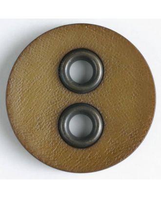 Kunststoffknopf mit Metalllöchern - Größe: 32mm - Farbe: braun - Art.Nr. 400080