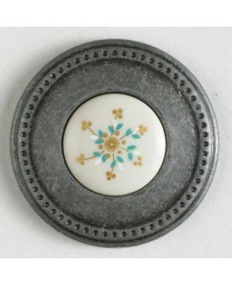 Zweiteiliger Knopf mit Lochrand und Deko-Einlage mit Öse - Größe: 25mm - Farbe: altzinn - Art.Nr. 340476