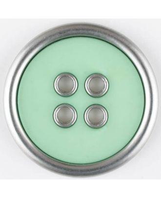 Zweiteiliger Vollmetall-Polyamidknopf mit schmalem silbernen Rand, rund, 4 loch - Größe: 20mm - Farbe: grün - Art.Nr. 320654