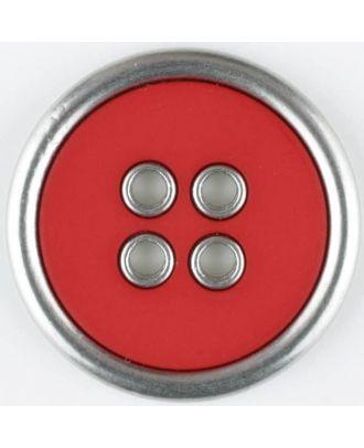Zweiteiliger Vollmetall-Polyamidknopf mit schmalem silbernen Rand, rund, 4 loch - Größe: 20mm - Farbe: rot - Art.Nr. 320655