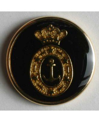 Wappenknopf, vollmetall, goldenes Anker-Wappen auf schwarzer Emaille mit schmalem Rand - Größe: 20mm - Farbe: schwarz - Art.Nr. 340076
