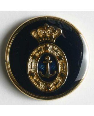 Wappenknopf, vollmetall, goldenes Anker-Wappen auf blauer Emaille mit schmalem Rand - Größe: 20mm - Farbe: blau - Art.Nr. 340077