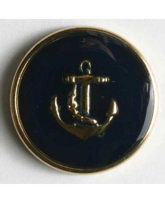Ankerknopf, vollmetall, goldener Anker auf blauer Emaille mit schmalem Rand - Größe: 14mm - Farbe: blau - Art.Nr. 300114
