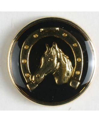 Sportknopf Pferd mit Hufeisen  - Größe: 20mm - Farbe: schwarz - Art.Nr. 340090