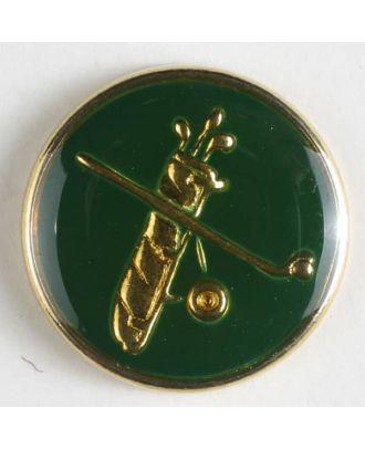 Sportknopf mit Golfschläger - Größe: 15mm - Farbe: grün - Art.Nr. 300127