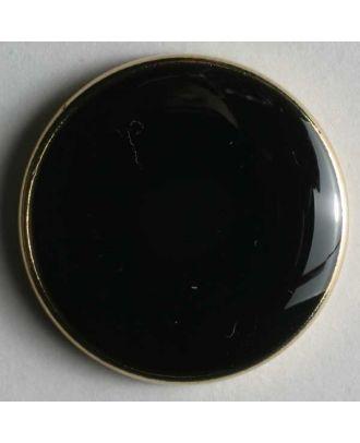 Blazerknopf, vollmetall, mit schmalem, dekorativem Rand und schwarzer Einlage - Größe: 23mm - Farbe: schwarz mit Goldrand - Art.Nr. 350089