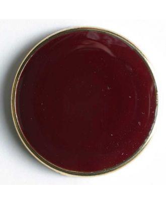 Blazerknopf, vollmetall, mit schmalem, dekorativem Rand und roter Einlage - Größe: 15mm - Farbe: rot/gold - Art.Nr. 300154