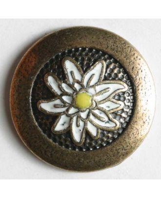 Edelweissknopf, vollmetall mit weißer Blüte - Größe: 23mm - Farbe: altmessing - Art.Nr. 370034