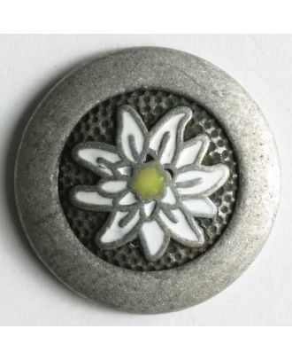 Edelweissknopf, vollmetall mit weißer Blüte - Größe: 23mm - Farbe: altzinn - Art.Nr. 370182