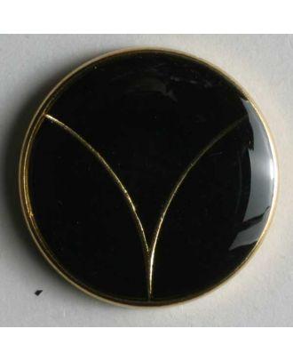 Blazerknopf, vollmetall emailliert mit Öse - Größe: 20mm - Farbe: schwarz/gold - Art.Nr. 340117
