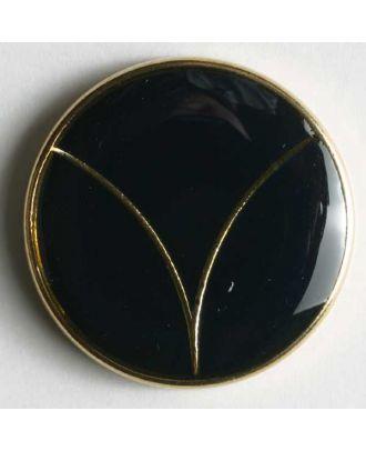 Blazerknopf, vollmetall, emailliert mit Öse - Größe: 20mm - Farbe: blau/gold - Art.Nr. 340118