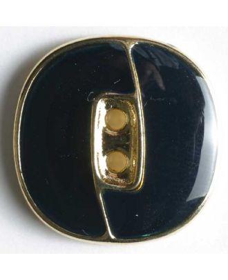 Blazerknopf, vollmetall, emailliert, mit 2 Löchern und goldener Einfassung - Größe: 23mm - Farbe: blau - Art.Nr. 350118