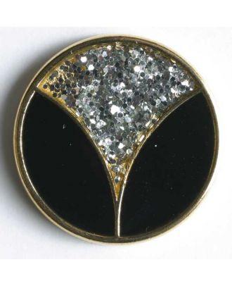 Blazerknopf, vollmetall, teilweise mit Strasssteinchen besetzt und goldener Einfassung - Größe: 20mm - Farbe: schwarz - Art.Nr. 360106