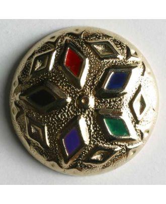 Schmuckknopf, vollmetallmit farbig unterlegten Rauten verziert - Größe: 18mm - Farbe: gold - Art.Nr. 370122