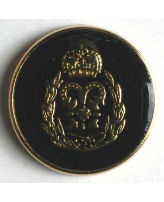 Wappenknopf, vollmetall, goldenes Wappen auf schwarzer Emaille mit schmalem Rand - Größe: 19mm - Farbe: schwarz - Art.Nr. 340247