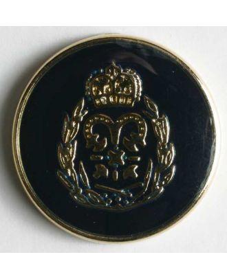 Wappenknopf, vollmetall, goldenes Wappen auf blauer Emaille mit schmalem Rand - Größe: 19mm - Farbe: blau - Art.Nr. 340248