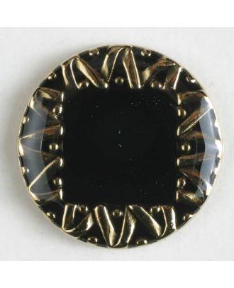 Schmuckknopf, vollmetall, Randbereich verschnörkelt, innen emailliertes Quadrat - Größe: 18mm - Farbe: schwarz - Art.Nr. 340378