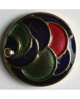 Schmuckknopf, vollmetal, bunt emailliert mit halbkreisförmigem Muster - Größe: 28mm - Farbe: gold - Art.Nr. 410011