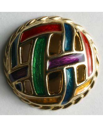 Schmuckknopf, vollmetal, bunt emailliert mit Flechtmuster - Größe: 28mm - Farbe: gold - Art.Nr. 410012