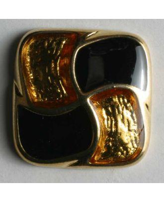 Schmuckknopf, vollmetall, quadratisch, in Gold schwarz-gold emailliert - Größe: 18mm - Farbe: schwarz - Art.Nr. 370131