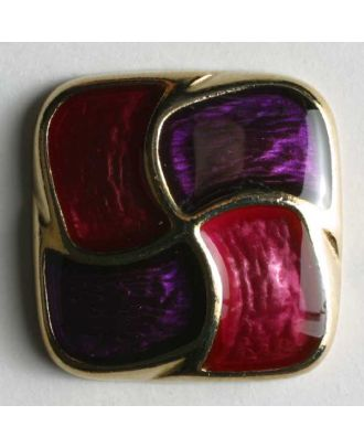 Schmuckknopf, vollmetall, quadratisch, in Gold lila-rosa emailliert - Größe: 25mm - Farbe: lila - Art.Nr. 400013