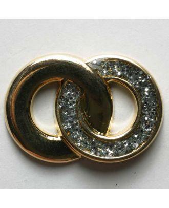 Ringknopf, vollmetall, glatt und Glitzer-Deko - Größe: 28mm - Farbe: gold - Art.Nr. 390073