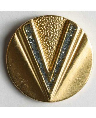 Schmuckknopf, vollmetall, unterschiedliche v-förmige Strukturen, mit Glitzersteinchen - Größe: 23mm - Farbe: mattgold - Art.Nr. 360201