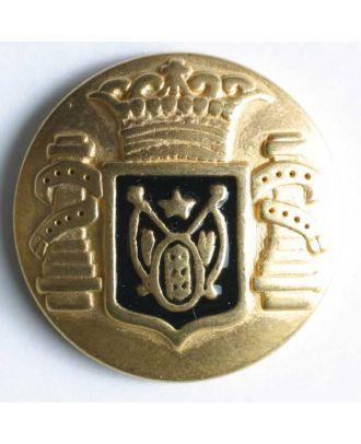 Wappenknopf, vollmetall, goldenfarbig mit schwarzem Emaille-Wappen und Öse - Größe: 18mm - Farbe: schwarz - Art.Nr. 330369