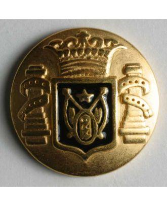 Wappenknopf, vollmetall, goldenfarbig mit blauem Emaille-Wappen und Öse - Größe: 23mm - Farbe: blau - Art.Nr. 360276