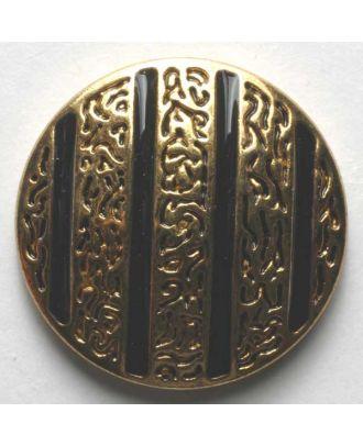 Schmuckknopf, vollmetall, Ornament wird von farbigen Rillen unterbrochen, mit Öse - Größe: 25mm - Farbe: schwarz - Art.Nr. 370176