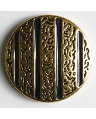 Schmuckknopf, vollmetall, Ornament wird von farbigen Rillen unterbrochen, mit Öse - Größe: 25mm - Farbe: blau - Art.Nr. 370179