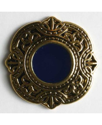 Schmuckknopf, vollmetall, antik geformter Rand mit blauer Mitte und Öse - Größe: 25mm - Farbe: blau - Art.Nr. 370188