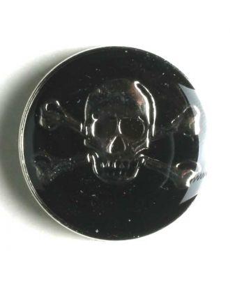 Piratenknopf, vollmetall schwarz/silber, Gift-Symbol Schädel mit gekreuzten Knochen - Größe: 25mm - Farbe: silber - Art.Nr. 360437