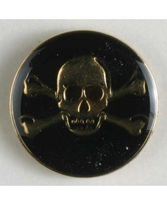 Piratenknopf, vollmetall, schwarz/gold, Gift-Symbol Schädel mit gekreuzten Knochen  - Größe: 25mm - Farbe: vergoldet - Art.Nr. 370308