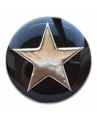 emailierter Sternenknöpf Vollmetall mit Öse - Größe: 20mm - Farbe: schwarz - Art.Nr. 341335