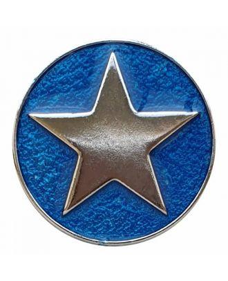 emailierter Sternenknöpf Vollmetall mit Öse - Größe: 20mm - Farbe: blau - Art.Nr. 341355