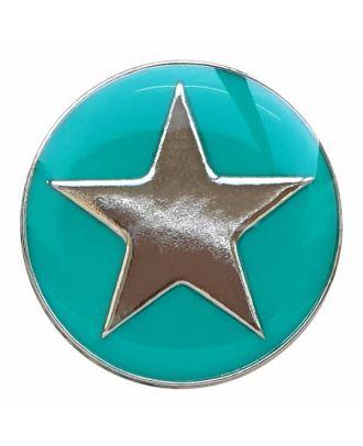 emailierter Sternenknöpf Vollmetall mit Öse - Größe: 20mm - Farbe: grün - Art.Nr. 341336
