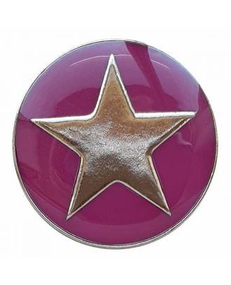 emailierter Sternenknöpf Vollmetall mit Öse - Größe: 20mm - Farbe: rosa - Art.Nr. 341337