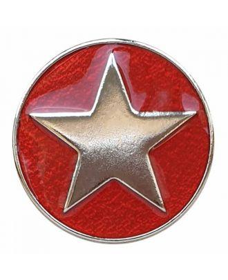 emailierter Sternenknöpf Vollmetall mit Öse - Größe: 25mm - Farbe: rot - Art.Nr. 380400